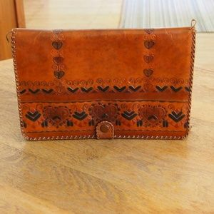Old Hungarian Hand Tooled Leather Clutch